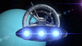 Spacecrafts on background of Uranus. Spacecraft with pulsate engines flying into a space station door on background of Uranus, 3d animation. Texture of the stock footage