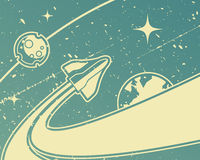 Spacecraft. / retro space theme background Royalty Free Stock Photos