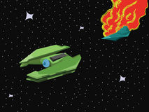 Spacecraft Space Blast. Star Universe Spaceship Battle. Explosion of a Starship in Space. Green Spacecraft flying from a big space explosion. Vector digital Stock Images