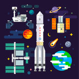 Spacecraft and space industry elements Stock Images