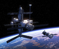 Spacecraft And Space Station Royalty Free Stock Photo