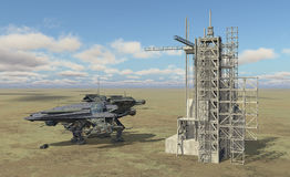 Spacecraft and space station in a landscape stock illustration