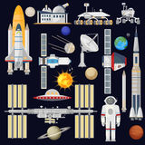 Spacecraft and space technology industry for infographic.. Astronomy icon. Planets, Rockets, Satellites Royalty Free Stock Photos