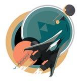 Spacecraft, spaceship in space, planet. Flat modern illustration, star war Stock Images