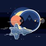 Spacecraft, spaceship in space, planet and sputnik. Star war Stock Photos