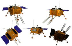 Spacecraft to land on the moon in different angles on white background stock illustration