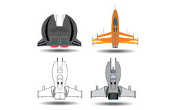 Spacecraft universe plane. Vector in the game Royalty Free Stock Photo
