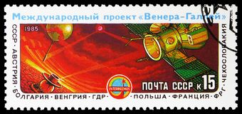 Spacecraft Vega, Space Project Venus-Halley serie, circa 1985. MOSCOW, RUSSIA - MAY 25, 2019: Postage stamp printed in Soviet Union (Russia) shows Spacecraft royalty free stock images