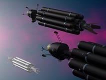 Spacecrafts. Illustration (3d render) of fantasy spacecrafts vector illustration