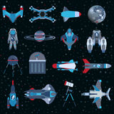 Spacecrafts flat icons equipment set. Cosmonaut space suit symbol. Vector spaceship collection Royalty Free Stock Images