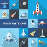 Spacecrafts icon set. Vehicle for travelling in space for earth observation, meteorology, navigation, Vector flat style cartoon illustration Stock Photo