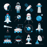 Spacecrafts Instruments Equipment Flat Icons Set Stock Photography