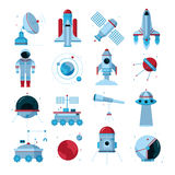 Spacecrafts Instruments Equipment Flat Icons Set Royalty Free Stock Photo