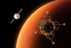 Spacecrafts Orbiting Red Planet Stock Image