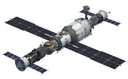 Spacecrafts And Space Station Stock Photo