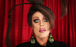 Spaced Out Drag Queen. With unique hairdo Stock Photo