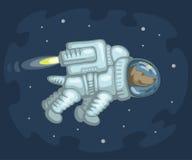 Spacedog在外层空间走 免版税库存照片
