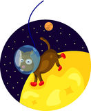 Spacedog running on the moon Royalty Free Stock Image