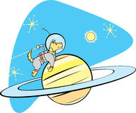 SpaceDog and Saturn. Retro Space Dog flies by planet Saturn Stock Images