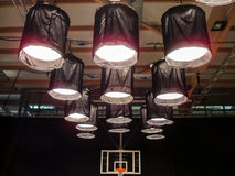 Spacelights. A basketball court converted into a set Royalty Free Stock Images