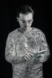 Spaceman με την ψηφιακή ταμπλέτα Στοκ Φωτογραφίες
