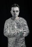 Spaceman με την ψηφιακή ταμπλέτα Στοκ Εικόνες
