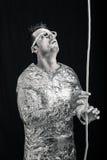 Spaceman με το σχοινί Στοκ εικόνα με δικαίωμα ελεύθερης χρήσης