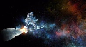 Spaceman στον πετώντας πίνακα Μικτά μέσα απεικόνιση αποθεμάτων