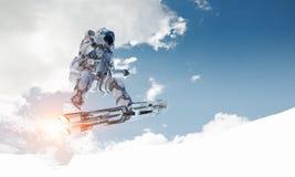 Spaceman στον πετώντας πίνακα Μικτά μέσα διανυσματική απεικόνιση