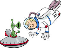 Spaceman with alien cartoon Stock Photo