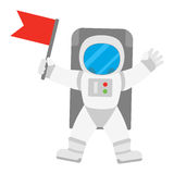 Spaceman astronaut in outer space holding red banner flag Stock Photos