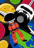Spaceman Astronaut & Space Shuttle. An EPS file is also available royalty free illustration