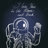 Spaceman, astronaut. Vintage typography hand drawn Royalty Free Stock Image