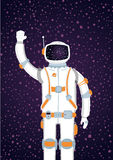 Spaceman. Astronaut wearing white suit and helmet standing on a star sky background vector illustration