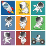 Spaceman. The astronauts set. Vector illustration Stock Photos