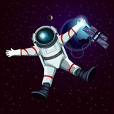 Spaceman or cosmonaut, astronaut in space Royalty Free Stock Images