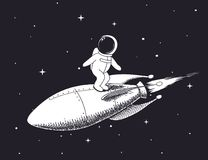 Spaceman flies on rocket. Cute spaceman flies on rocket in outer space.Childish vector illustration.Prints design royalty free illustration