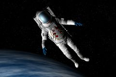 Spaceman floating. An astronaut floats above the earth vector illustration