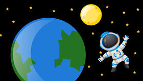 Spaceman floating around the earth