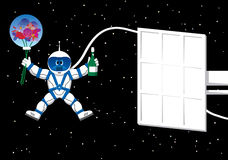 Spaceman with flowers card Royalty Free Stock Photography