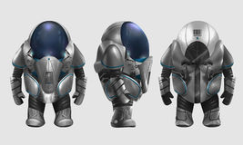 Spaceman illustration. Isolated spaceman in grey armored suit character standing in different angles illustration art Stock Images