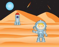 Spaceman on mars Royalty Free Stock Images
