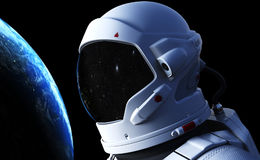 Spaceman in outer space. 3D illustration. Elements of this image furnished by NASA Stock Photos