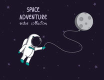 Spaceman in outer space with moon like a balloon Royalty Free Stock Images
