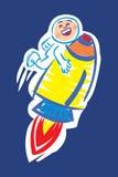 Spaceman riding rocketship. Astronaut riding a rocketship through space Stock Photography