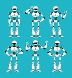 Spaceman robot android in different poses. Cute cartoon futuristic humanoid character set stock illustration