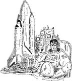 Spaceman shuttle Stock Images