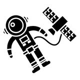Spaceman in space with spaceship icon, vector illustration, black sign on isolated background Royalty Free Stock Photos
