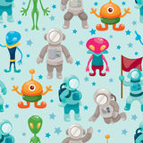 Spaceman and ufo seamless pattern Stock Image