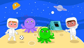 Spacemen playing soccer with cartoon aliens Stock Photography